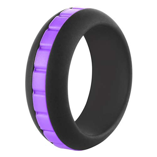 EMBNN Silicone Wedding Ring for Men, Thin Rubber Wedding Band for Athletes Sport Exercise, 8mm, Set of 1 (Ring Base: Black; Color Straps: White, Hot Pink, Purple, Sky Blue, Red, - Purple Personalized Honey