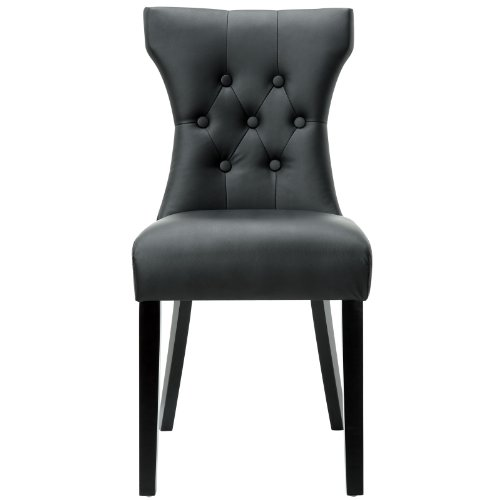 Modway Silhouette Tufted Faux Leather Parsons Dining Side Chair in Black (Chair Leather Parsons Chair)