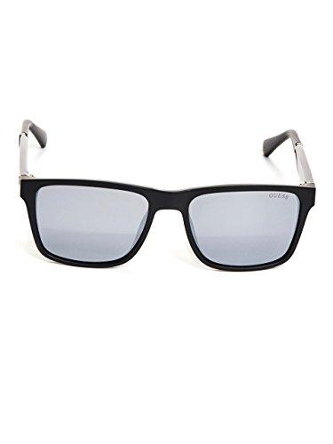 GUESS Men's Gu6928 Rectangular Sunglasses, Matte Black & Smoke Mirror, 56 mm