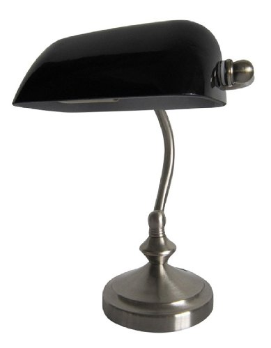 Simple Designs LT3057-BLK Brushed Nickel Traditional Banker's Lamp with Glass Shade, Black (Bankers Lamp)
