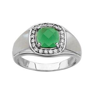 1001 Bijoux - Bague argent rhodié pierre carre verte contour oxydes blancs sertis et nacre blanche