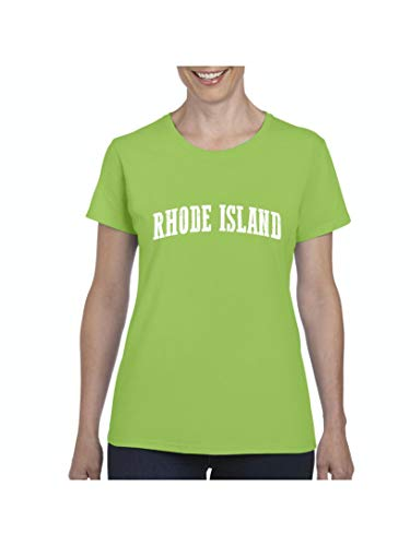Mom`s Favorite Rhode Island State Flag Providence Traveler`s Gift Women's Short Sleeve T-Shirt (XLLG) Lime Green for $<!--$13.48-->
