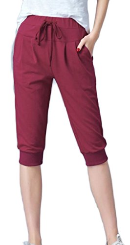 Generic Women's Outdoor Capri Pants Lightweight Workout Running Jogger Capri Pants Wine Red XXS by GenericWomen