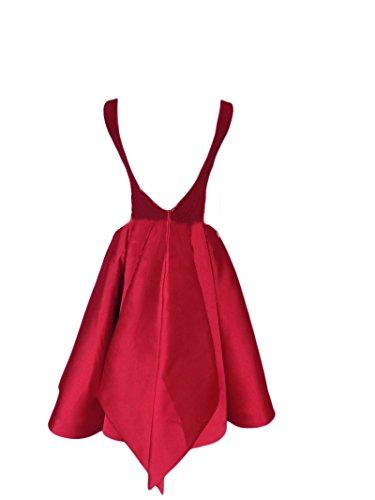 Les Robes De Cocktail De Retour À La Maison Sans Dossier Col Bateau Pour Femmes Dkbridal Tache Robes De Bal De Demoiselle D'honneur Courte Rouge