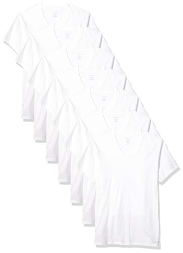 Calvin Klein Men's Cotton Classics Multipack V Neck T-Shirts, White, L