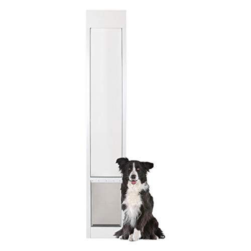 PetSafe Freedom Aluminum Patio Panel Sliding Glass Dog and Cat Door, Adjustable 76 13/16 in to 80 11/16 in - Large White Pet Door (Seal Smart Patio Perfect)