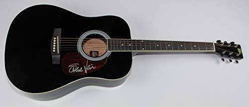 Steve Vai Passion and Warfare Signed Autographed Black Full Size Acoustic Guitar Loa ()