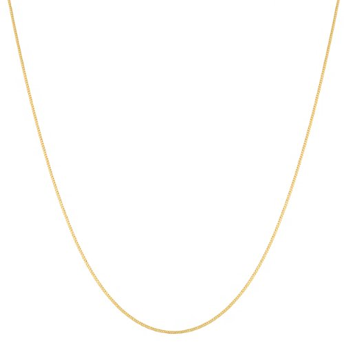 14k Yellow Gold 0.7mm Thin Curb Link Chain (14, 16, 18, 20, 22, 24 or 30 inch)