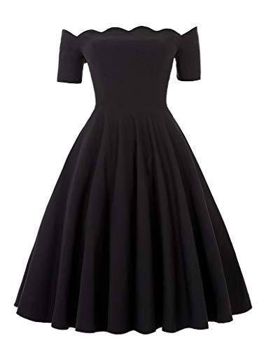 - PAUL JONES Women's Retro Off Shoulder Dress Knee-Length Dress for Party Size S Black