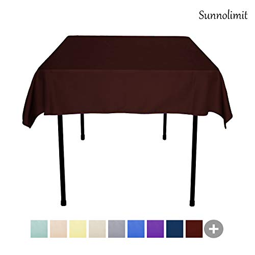 54 X 54 Tablecloth - Sunnolimit Tablecloth - 54 x 54 Inch -Chocolate-Square Polyester Table Cloth, Wrinkle,Stain Resistant - Great for Buffet Table, Parties, Holiday Dinner & More