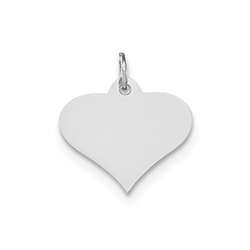 14k White Gold .013 Gauge Engraveable Heart Disc Pendant Charm Necklace Engravable Shapely Love Fine Jewelry Gifts For Women For Her
