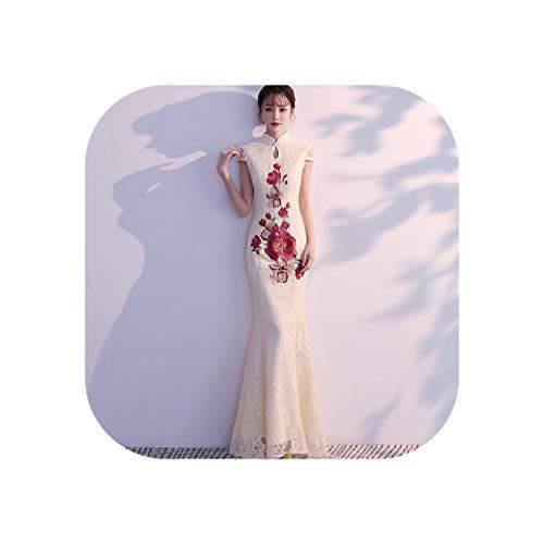 Traditional Women Sexy Dress Mandarin Collar Elegant Qipao Wedding Party Gown Cheongsam Large Size 3XL,Champagne,M -