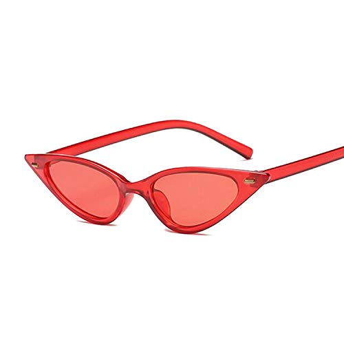 - Women Cat Eye Sunglasses Small Size Fashion Retro Ladies Sun Glasses Black Purple Red Glasses Uv400,Red