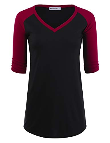 Doublju Women's Raglan Two Tone Design Top 3/4 Sleeve V-Neck Shirt, BLACKWINE 2X Plus Size