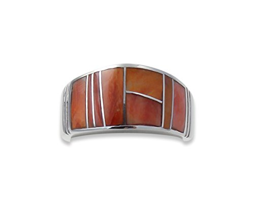 Navajo Silver Spiny Oyster Inlay Ring Size 7