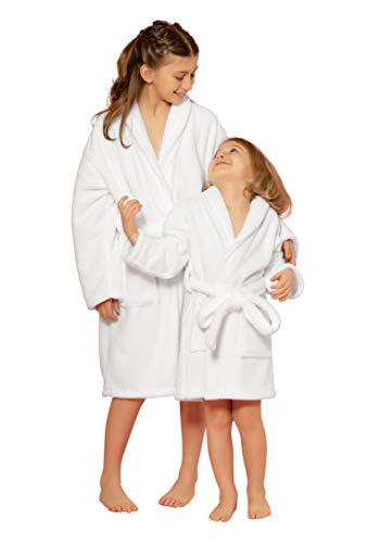 Kids Robe, Microfleece Soft Plush Bathrobe (White, Large)