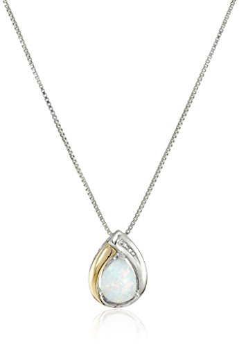 Sterling Silver and 14k Yellow Gold Created Opal Pear and Diamond Pendant Necklace, 18
