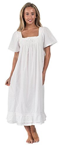 The 1 for U 100% Cotton Short Sleeve Nightgown - Evelyn (XXXL) White