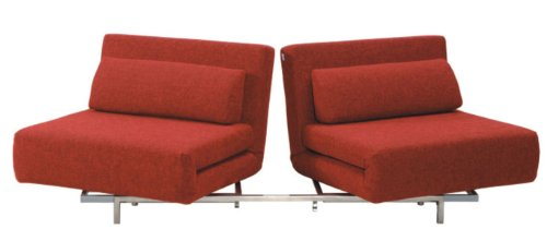 Convertible LK06-2 2 Seater Sofa Bed in Red Fabric