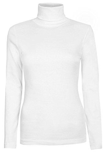 T donna Da Shirt 18 tartaruga a collo 6 unita maniche White Top forma Jumper tinta lunghe di Polo elasticizzato a BwwqdR6
