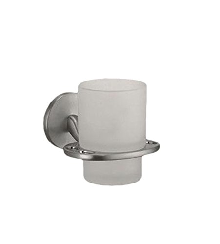Clear Glass Tumbler/Cup Toothbrush Holder - Wall Mounted Brushed Nickel Chrome Hanger (Brushed Nickel)