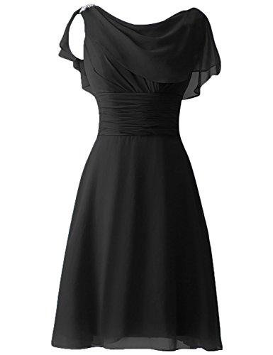 Formal Negro de Lentejuelas Vestidos Mangas Corto de fiesta honor Vestidos Dama Prom Gorra Rosario HUINI H6wn1q7x