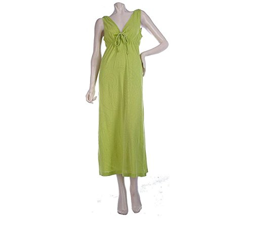 Stan Herman Paisley Pointelle Jersey Maxi Dress Solid Avocado 1X New (Pointelle Jersey Dress)