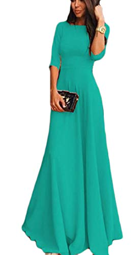 Party Green Round Womens Dress Casual Neck Swing Chiffon Domple 4 Sleeve 3 Maxi Ozq7HxW1Z