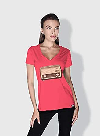 Creo Radio Retro T-Shirts For Women - L, Pink