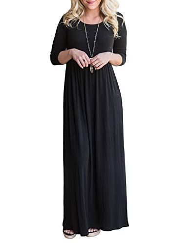 DUNEA Women's Maxi Dress Floral Printed Autumn 3/4 Sleeve Casual Tunic Long Maxi Dress (X-Large, Black4) ()