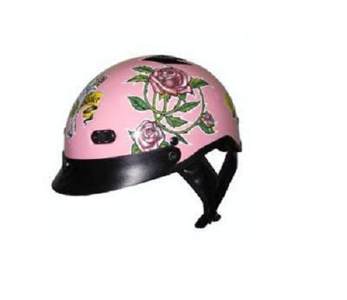 DOT Women's Pink Lady Rider Vented Motorcycle Half Helmet with Roses (Size L, LG, Large)