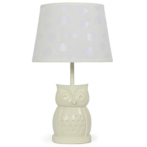 Fabric Tapered Shade - White Cloud Nursery Lamp Shade with White Owl Base, CFL Bulb Included