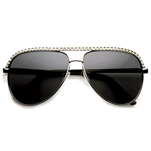 (Silver Rhinestones Womens Metal Sunglasses Stunner Fashion Celebrity Bling)