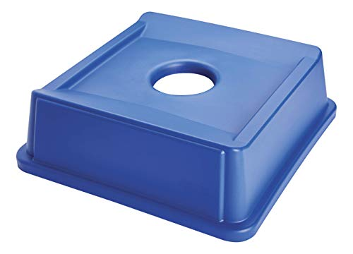 Rubbermaid Commercial Products Untouchable Square Bottle/Can Recycling Lid for 35G & 50G Containers, Blue Recycling (FG279100DBLUE)