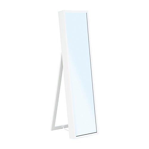 HomCom Mirrored Jewelry Cabinet Organizer Stand – White