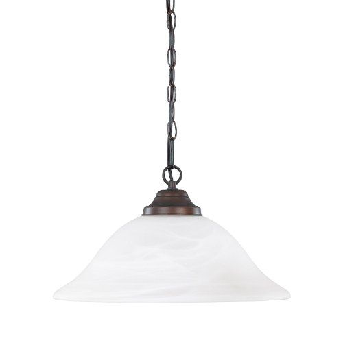 Capital Lighting 3907BB Transitional 1-Light Pendant, Burnished Bronze Finish with White Faux Alabaster Glass