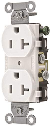 Hubbell CR20WHI Duplex Receptacle, Common Ground, 20 amp, 125V, 5-20R, White (Pack of - Commercial Outlet