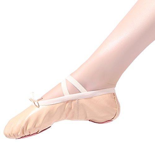 Ballettschläppchen Ballett Tanzschuhe für Damen Mädchen Kinder Gr.22-44 T-beige