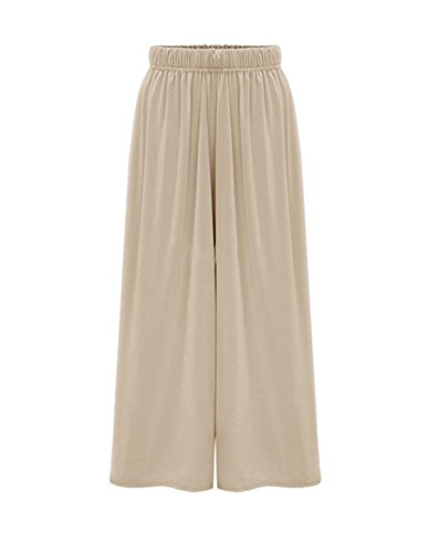 Ainovile Women's High Waist Cropped Pants Wide Leg Culottes Pants X-Large Apricot by Ainovile
