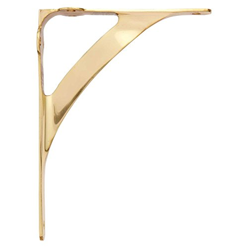 "Naiture Brass Classic 5-1/4"" Shelf Bracket in Polished Brass Finish"