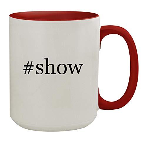 #show - 15oz Hashtag Colored Inner & Handle Ceramic Coffee Mug, Red