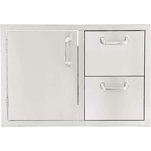 BBQGUYS Kingston Series 30-Inch Stainless Steel Left-Hinged Access Door & Double Drawer Combo