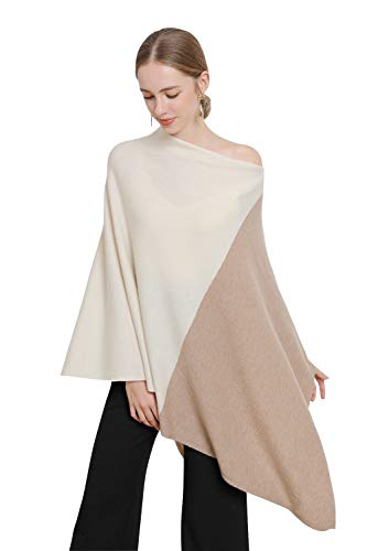 Women's Cashmere Scarf Pure goat cashmere knitted poncho Overszed winter shawls and wraps Asymmetric hem Pashmina Ponchos(One Size, Camel+Beige)