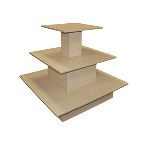 Rolling 3 Tier Waterfall Table Square Boutique Clothing Store Display Fixture Maple New by Bentley's Display