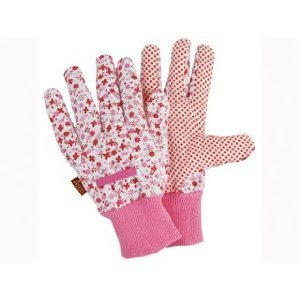 Briers ditzy grip ladies cotton gardening gloves pink for Gardening gloves amazon