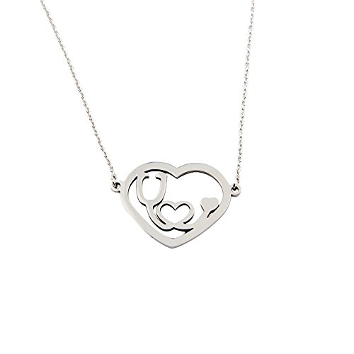 Doctor Nurse Stethoscope Stainless Steel Necklace with Heart (Big heart silver (Stainless Steel Graduate)
