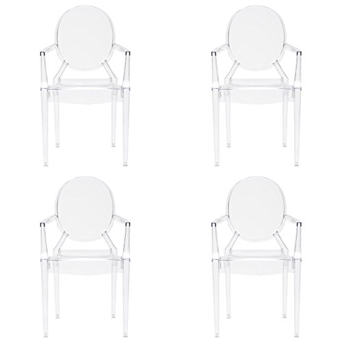 [Poly and Bark Louis Ghost Style Arm Chair (Set of 4), Clear] (Acrylic Dining Chair)