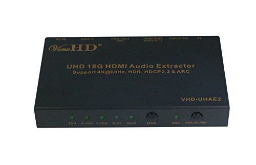 ViewHD UHD 18G HDMI Audio Extractor/Splitter Support HDMI v2.0 | HDCP v2.2 | 4K@60Hz | HDR | ARC | 3.5MM Analog Audio Output | Toslink Optical Audio Output | HDMI - Audio Dedicated