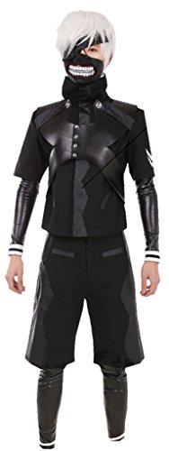 Mxnpolar Tokyo Ghouls Ken Kaneki Cosplay Costume Leather Suit Hooded Coat Costume S