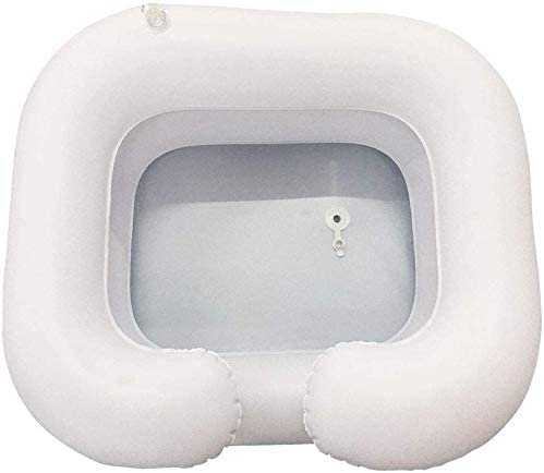Lavado Inflable Pelo Cuenca con Doble Capa de la válvula neumática Avanzada para Fácil de inflado/desinflado, Cuidado cómodo para el Reposo en Cama a Largo Plazo, minusválidos